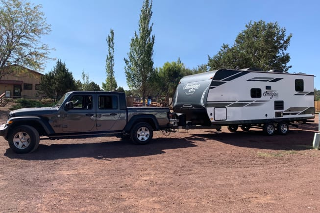 2020 Jeep Gladiator Sport S MaxTow.  First trip with the trailer to the Grand Canyon/Williams KOA