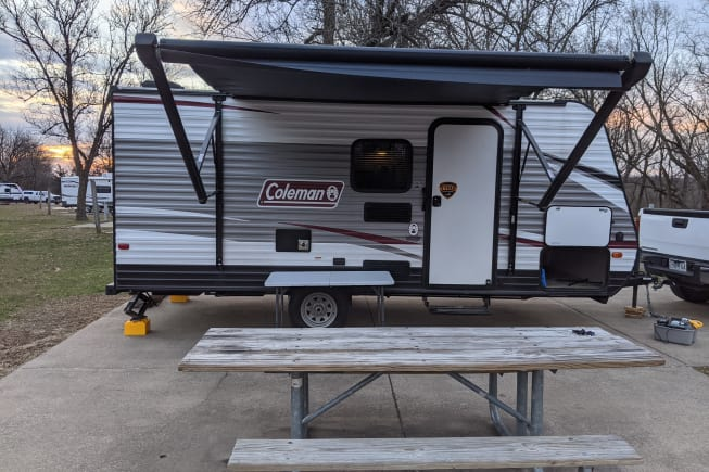 The motorized awning is wonderful for those rainy mornings, or hot afternoons. Provides a perfect space to set up an outdoor cooking station!