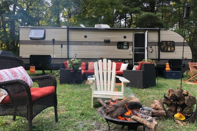 One of our longer renters of 2020 took this picture of our camper after she made it her own little outside paradise!