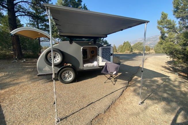 Easy, adjustable height awning for some coverage from the rain or sun.