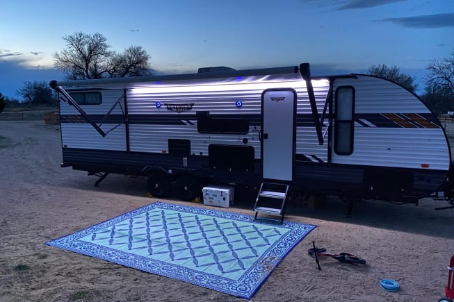 Exterior LED lighting on awning to keep your adventures going into the night