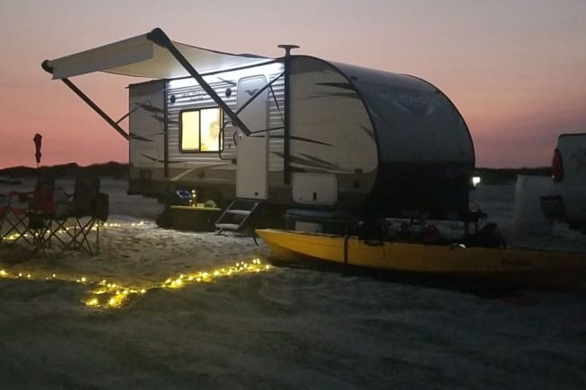 Beautiful sunset in Galveston,TX. boondocking 20 yards from the surf!!!