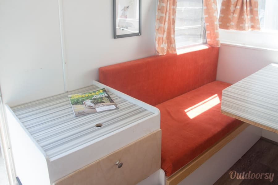 1964 Vintage Nomad Trailer Los Angeles, CA Side table and storage.
