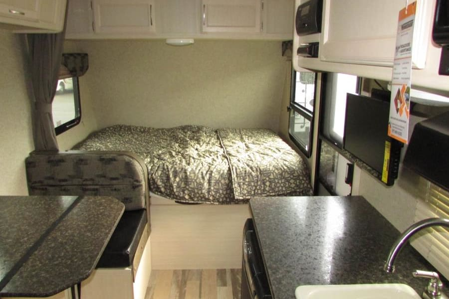 Interior, sleeps up to 5, includes tv/dvd player.