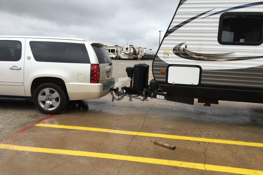 The upgraded hitch keeps the trailer from weighing your tow vehicle down!