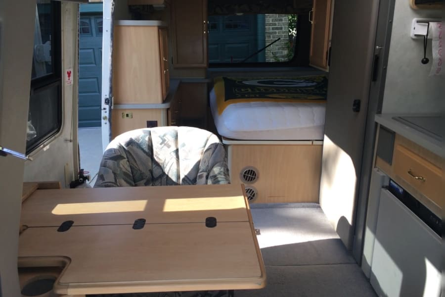 Double Bed, Chair, Table, Pull out Bathroom with Shower!