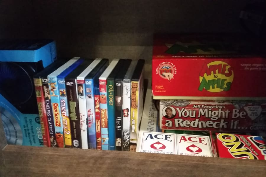 DVDs, DVD cleaner, Games, Cards