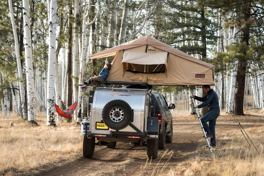 Roam rooftop tent for easy set up.