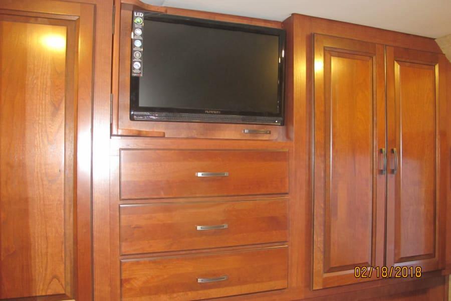bedroom storage and tv