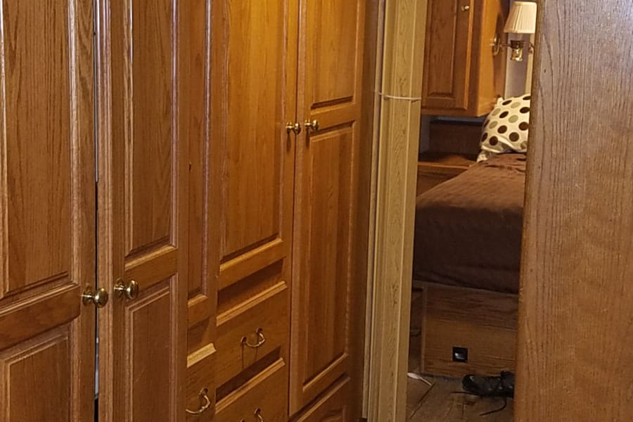 A lot of storage in closet space to keep your items out of the way and your bags put away for better comfort. Four different areasTo hang clothesAnd also a washer and dryer that can be used when  hooked  too sewage hook up