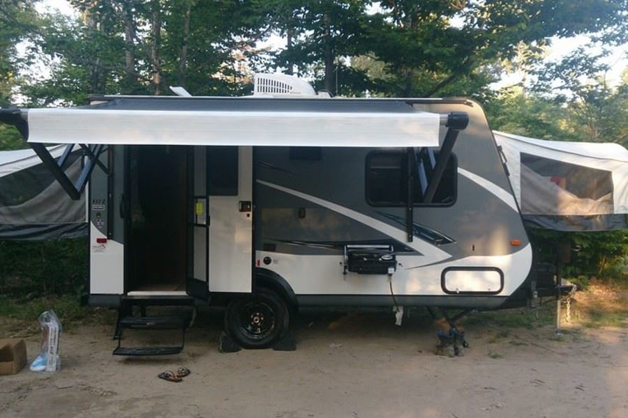 The side profile of the trailer, set up at Killbear Provincial Park ON.