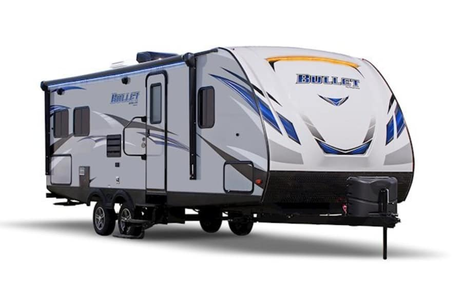 The exterior of the Bullet is stream-line for easy towing, and has exterior LED lighting for easy hook up and to add a touch of class at the campground.