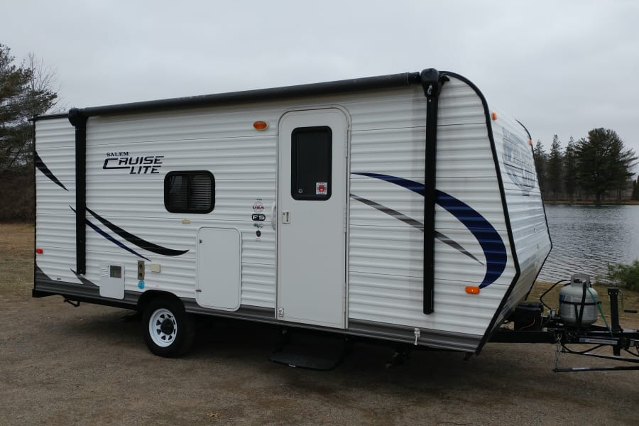 Ready for your next camping trip this fun light weight camper is easy to tow and has surprisingly ample space inside!