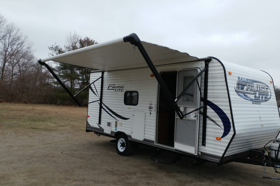 Nice easy crank out awning! Just remember to bring it in for those windy days!
