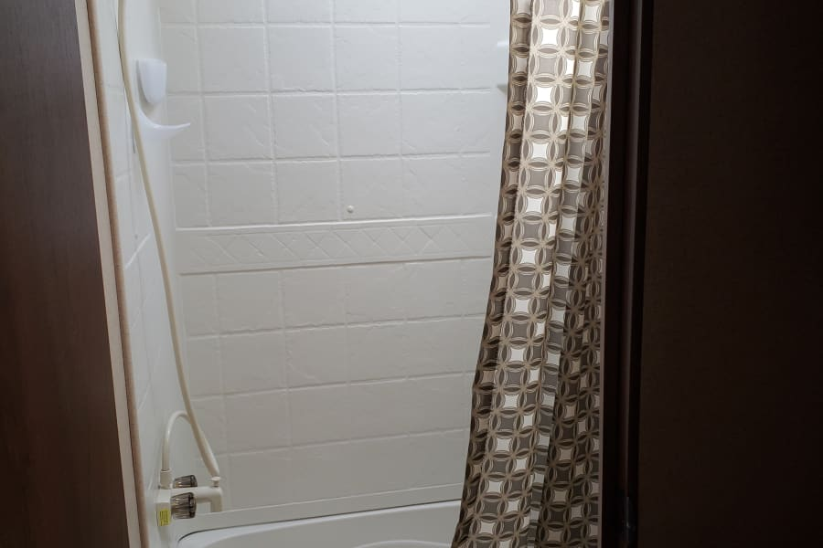 """Large Shower that a 6'4"""" person can fit in."""