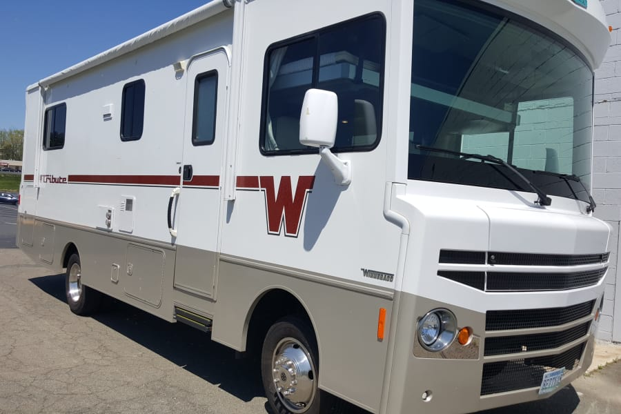 "2015 model, a tribute to the ""Flying W"" of the Winnebago.  Turns heads and attracts compliments from other RVers"