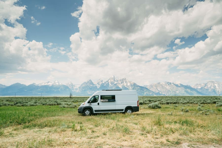Betsy parked in front of the Tetons.