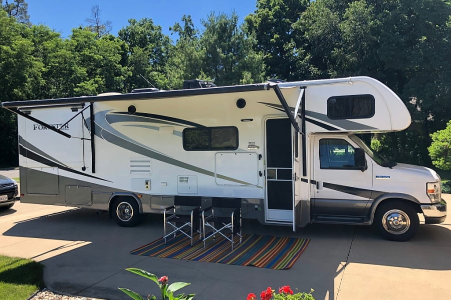 Enjoy plenty of shade with the power-extending awning.