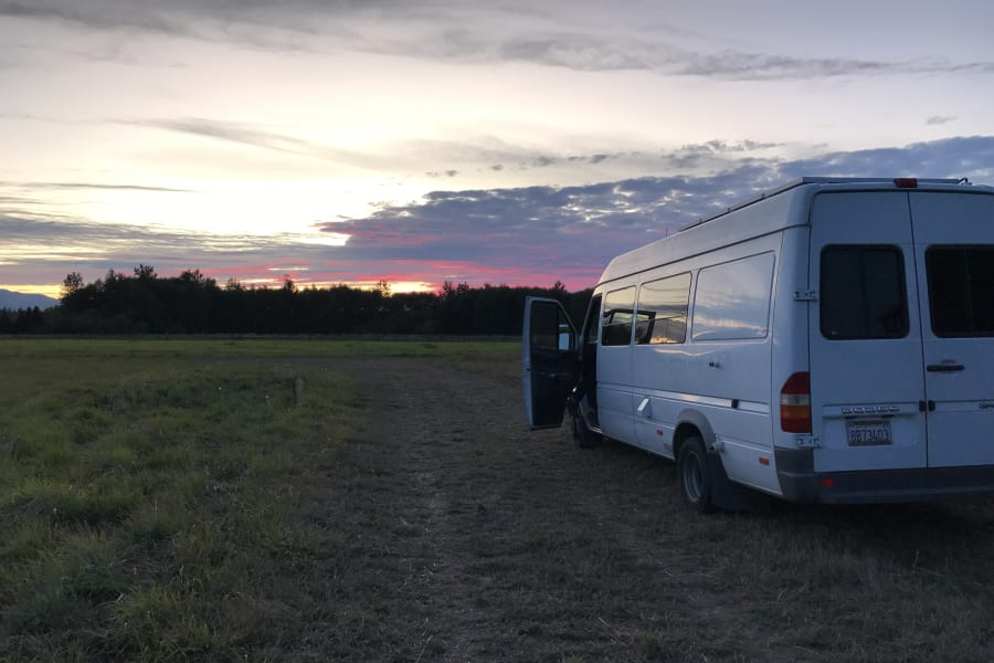 Van at sunset on a farm in Sequim, WA