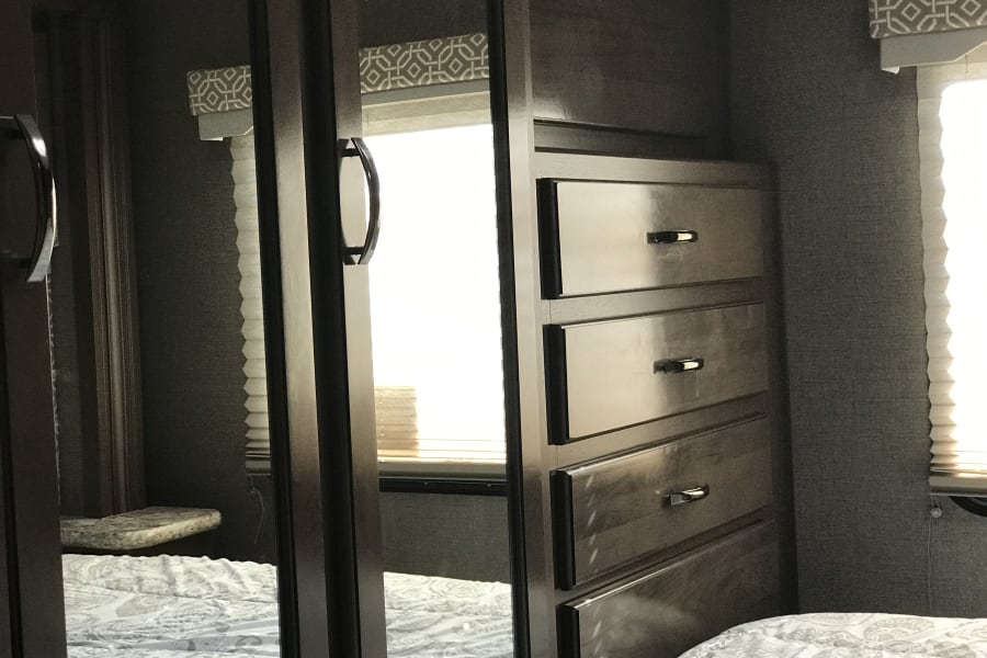 Plenty of storage space in the bedroom for a weekend or a month long stay!