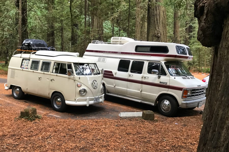 I used to have a VW Westy just like this one and loved her, but Bianca is way more powerful, comfortable, spacious and reliable than a VW van and even has cold AC. There is a toilet and you can stand up inside with two full size beds, as well