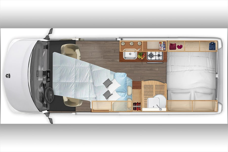 Night time layout with optional front bed.