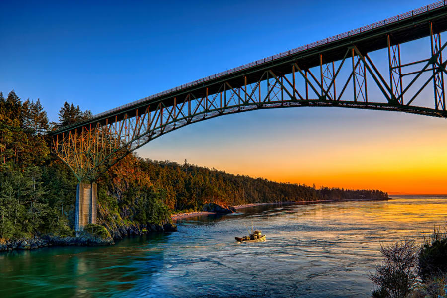 Deception pass to Whidbey Island.