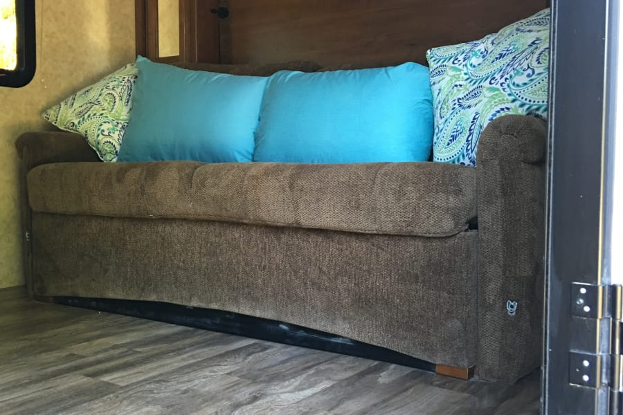 Fold down couch in front of Murphy Bed