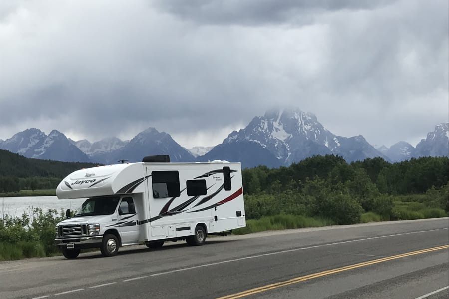 2018 Jayco Redhawk 25R out exploring Yellowstone and Grand Teton National Park
