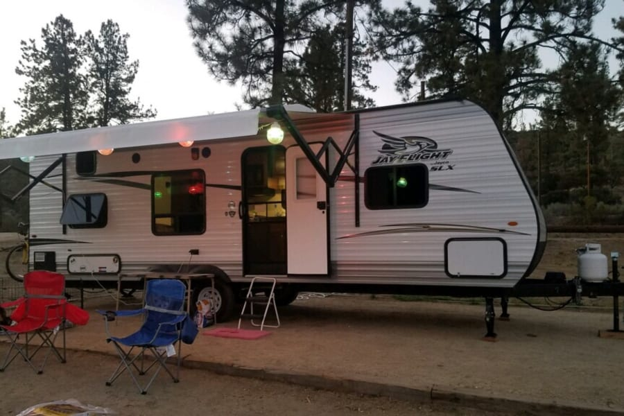 Lake Hemet Campground, decorated for the weekend.
