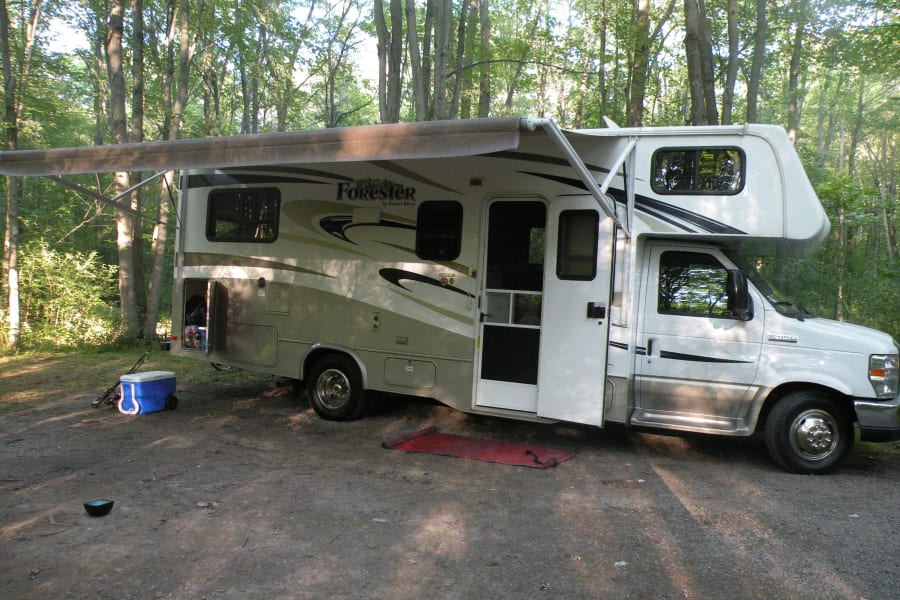 Camping set up with full awning.
