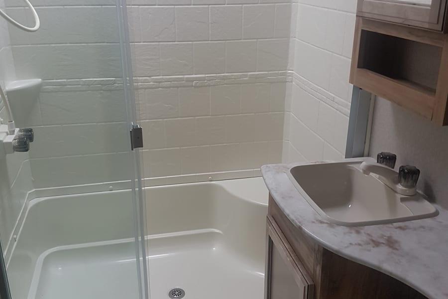 Spacious bathroom.