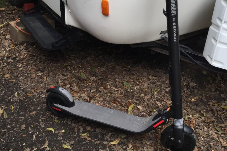 Optional Segway Ninebot scooter for big RV parks and trips to local stores. Stores in closet. 15 mile range.