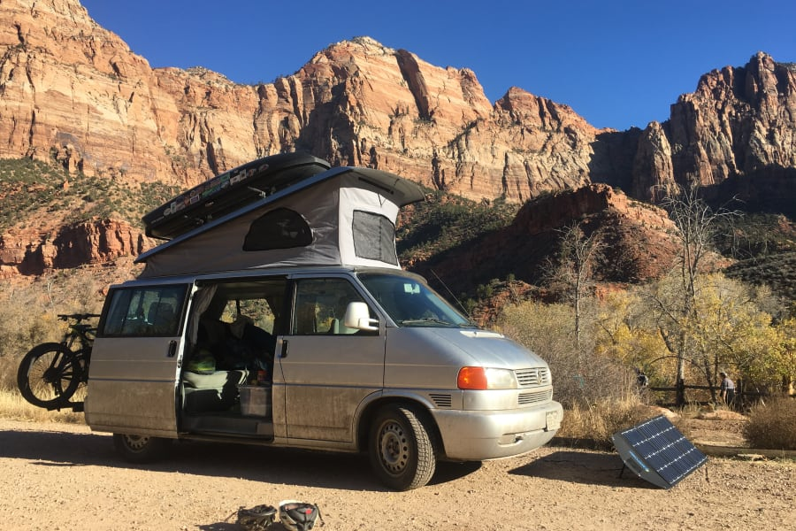 Van with all accessories fits into small camp spot.