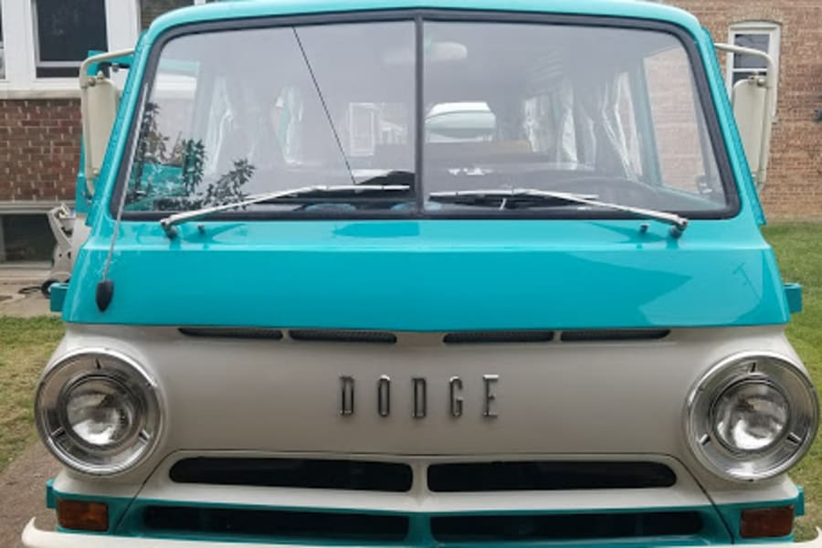 The split-window front of the CampWagon.