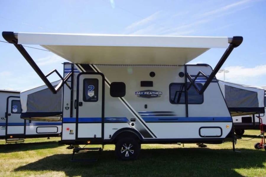 Beautiful trailer with awning.