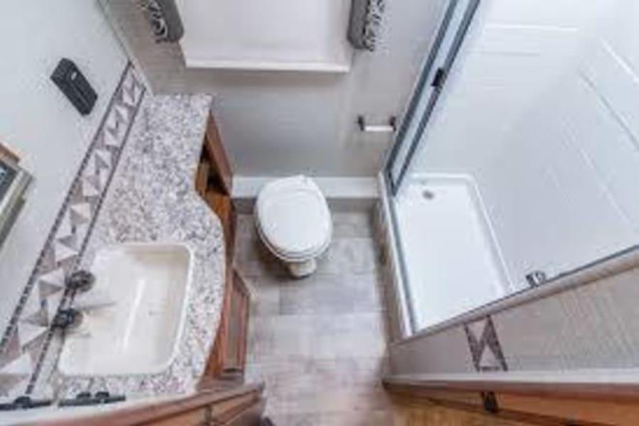 Bathroom: Sink Toilet Shower