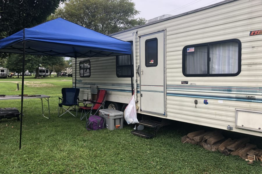 Campsite set up at a KOA (tent not included)
