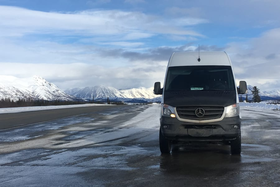 Come to Alaska and experience world-class views around every turn.  Our van has everything you need, from luxurious bedding, utensils, and towels to two spare tires.  Studded tires are added for winter safety.