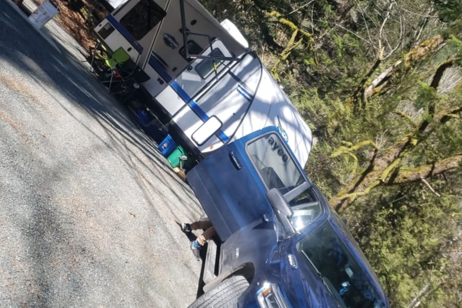 Trailer all setup at a Campsite