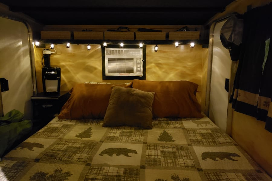 Inside the camper at night