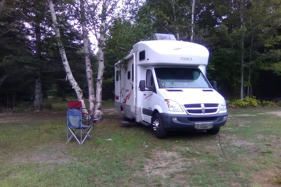 parking in the yard under a white birch