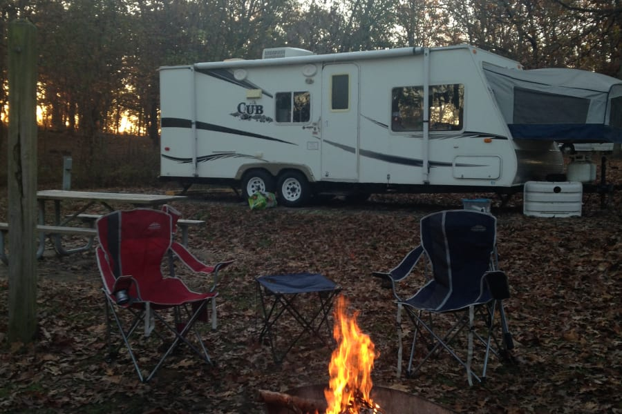 The outdoor feel of tent camping with the benefit of camper amenities.
