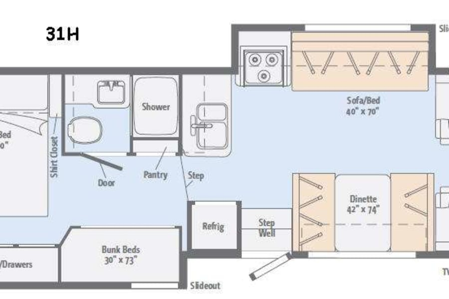 Great Layout provides sleeping for up to 10 people.