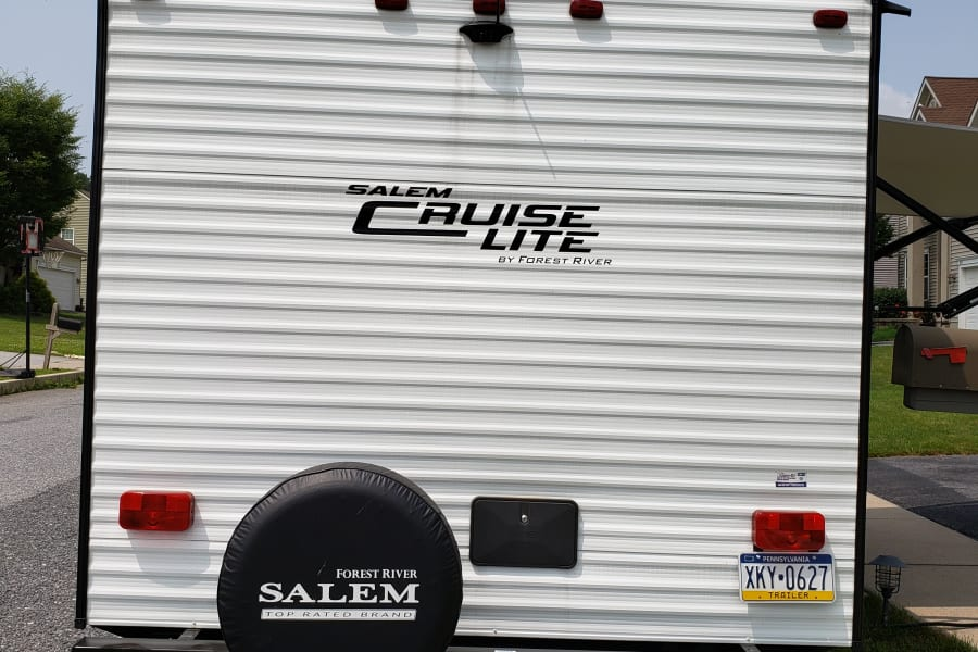 Back of trailer with backup camera.
