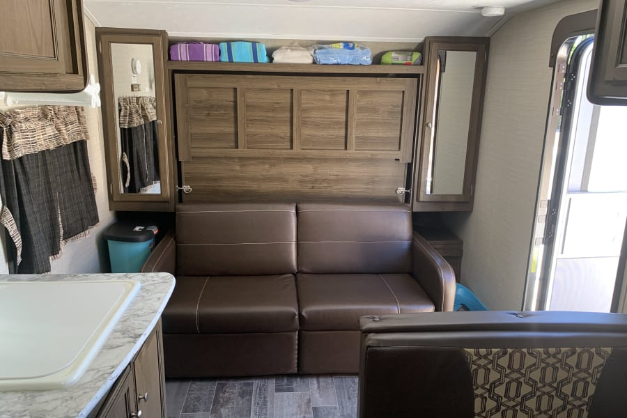 Murphy bed with vinyl couch