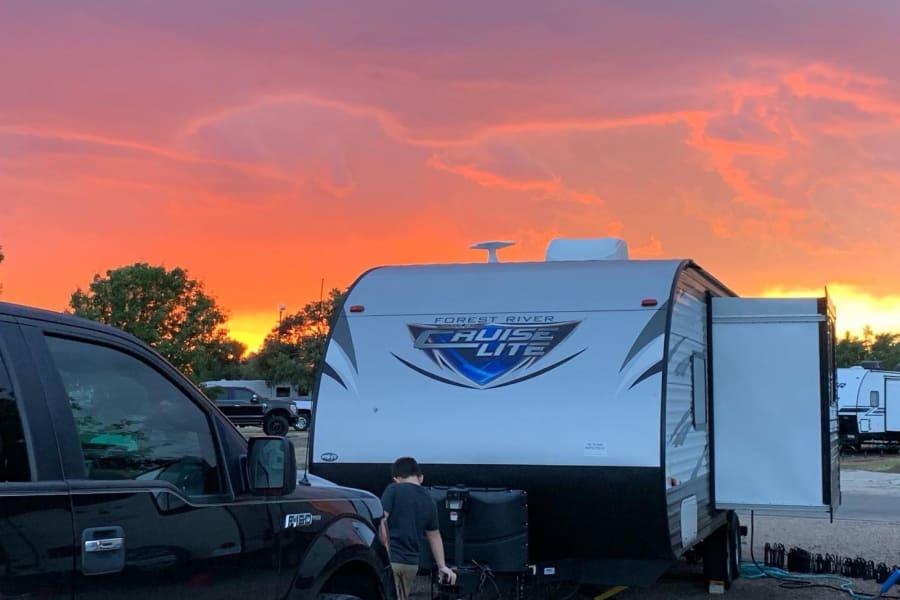 Sunset at the Big Texan RV Ranch in Amarillo, TX