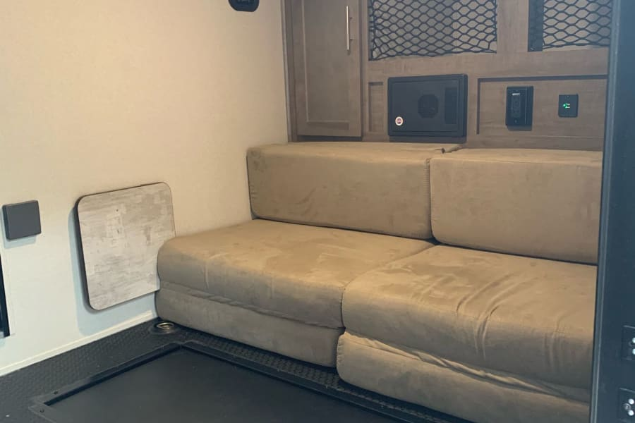 Cushions can be configured in various different configurations for sleeping our lounging.
