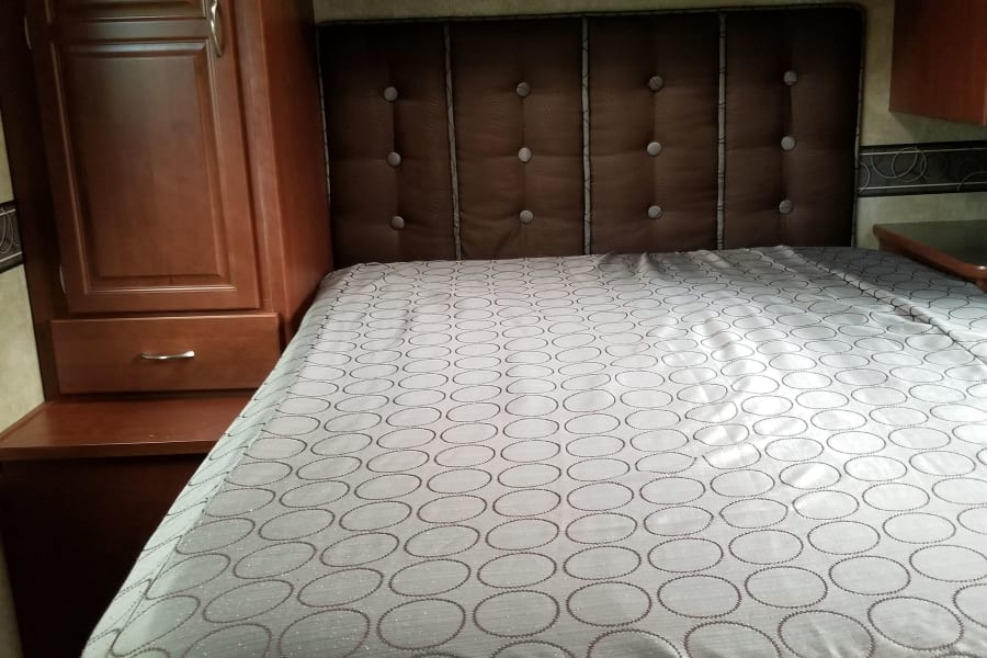 Walk around bed, Queen Size Mattress with Memory foam on top.