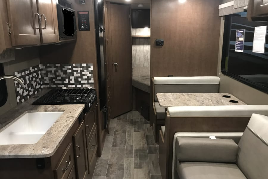 Brand new RV with an efficiently designed interior with room to sleep up to 6.